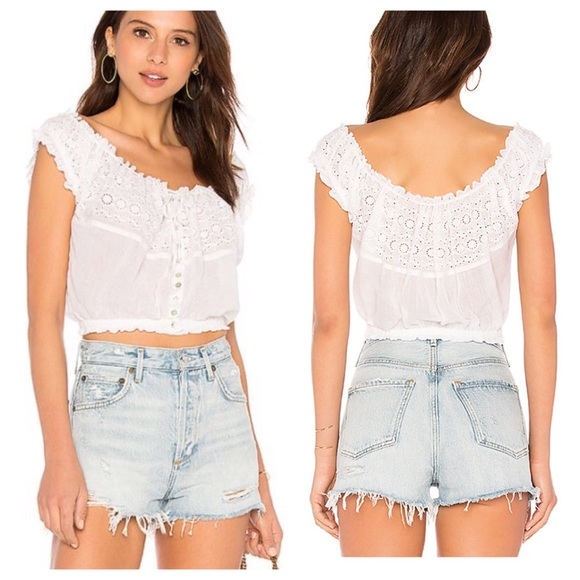 0117f5ca062609 Free People Tops | Eyelet You A Lot Peasant Top White L | Poshmark